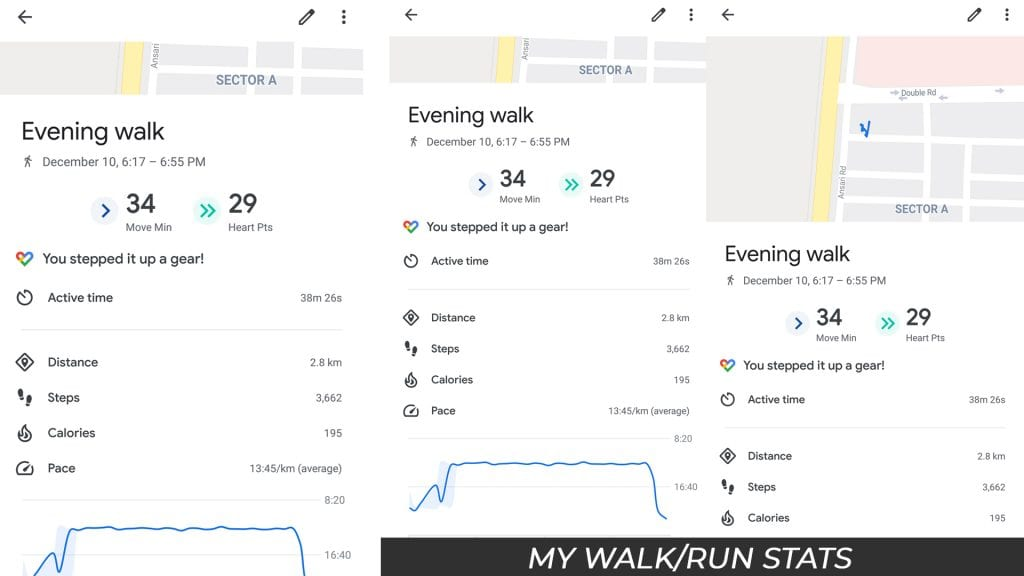 Walking Stats from Google Fit App
