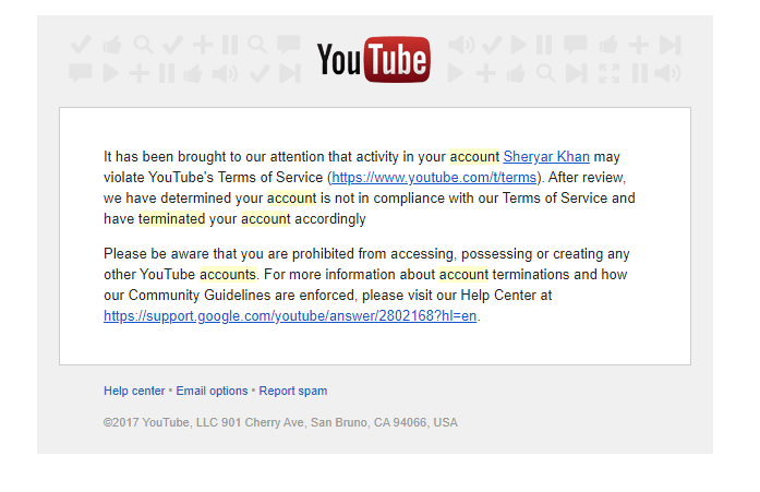 Youtube Termination Email